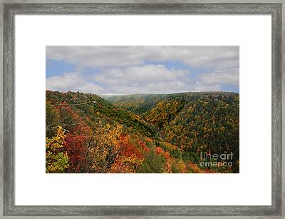 Looking Upriver At Blackwater River Gorge In Fall From Pendleton Point Framed Print by Dan Friend