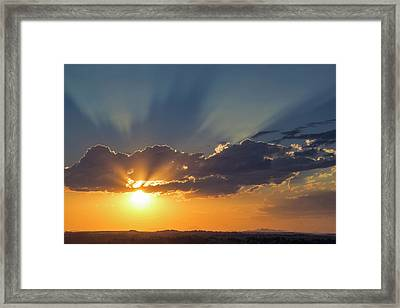 Looking West At Inspirational Sunset Framed Print