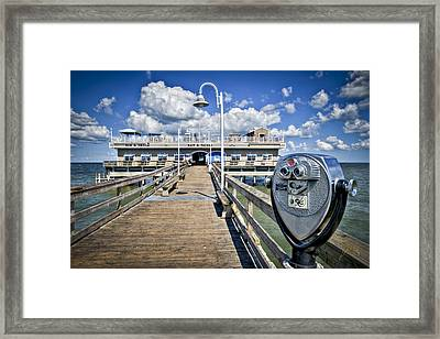 Lookout At Oceanview Fishing Pier - Color Framed Print