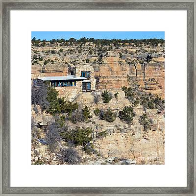 Lookout Studio At The Start Of The Bright Angel Trail Grand Canyon National Park Square Framed Print