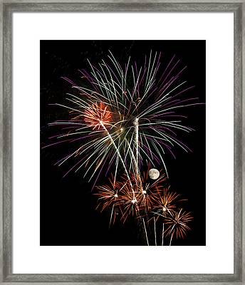 Looks Like Flowers - Fireworks And Moon Framed Print by Penny Lisowski