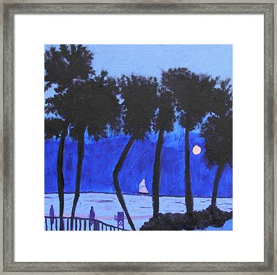 Looming Shore At Night Framed Print by Artists With Autism Inc