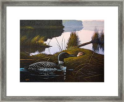 Framed Print featuring the painting Loon Lake by Richard Faulkner