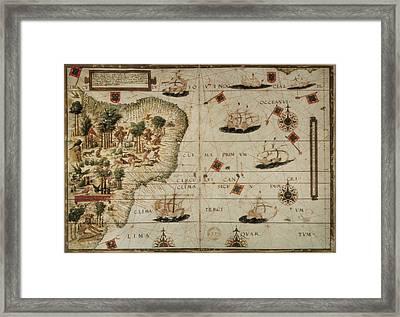 Lopo Homem 16th C. Reinel, Jorge 1502 - Framed Print by Everett