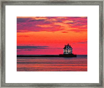 Lorain Lighthouse At Sunset Framed Print by Michael Pickett