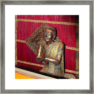 Lord Buddha Buddhist With Red Screen Framed Print