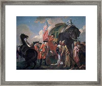 Lord Clive Meeting With Mir Jafar After The Battle Of Plassey Framed Print