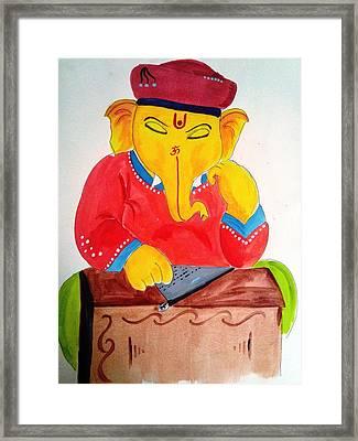 Lord Ganesha Framed Print by Vinayak  Thorat