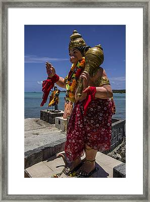 Lord Hanuman With Kali Ma In The Background At The Sea Side Temple In Mon Choisy - Mauritius Framed Print by Nerisha Ray Singh