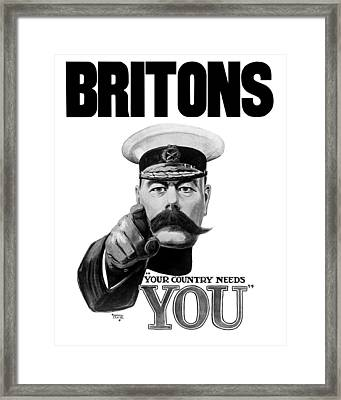 Lord Kitchener - Britons Your Country Needs You Framed Print by War Is Hell Store
