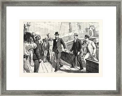 Lord Randolph Churchills First Step On African Soil Landing Framed Print by English School