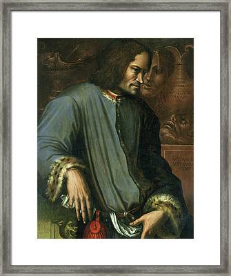 Lorenzo De Medici 1449-92 The Magnificent Oil On Panel Framed Print