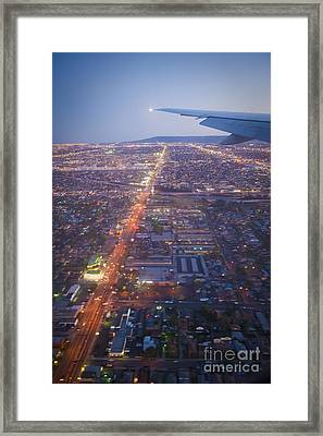 Los Angeles Aerial Overview On Approach To Lax At Night  Framed Print by David Zanzinger