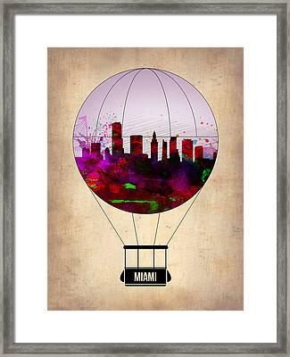 Miami Air Balloon 1 Framed Print by Naxart Studio