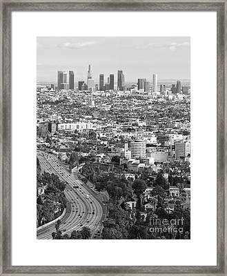 Los Angeles Basin And Los Angeles Skyline Black And White Monochrome Framed Print
