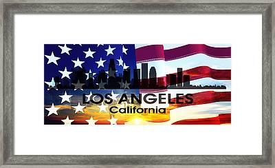 Los Angeles Ca Patriotic Large Cityscape Framed Print
