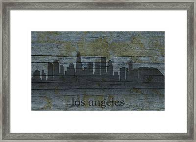 Los Angeles California City Skyline Silhouette Distressed On Worn Peeling Wood Framed Print