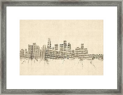 Los Angeles California Skyline Sheet Music Cityscape Framed Print