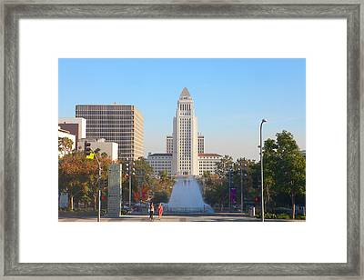 Framed Print featuring the photograph Los Angeles City Hall by Ram Vasudev