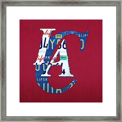 Los Angeles Clippers Basketball Team Retro Logo Vintage Recycled California License Plate Art Framed Print by Design Turnpike