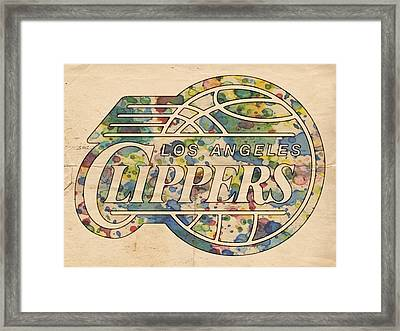 Los Angeles Clippers Poster Art Framed Print by Florian Rodarte