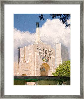 Framed Print featuring the painting Los Angeles Coliseum by Ike Krieger