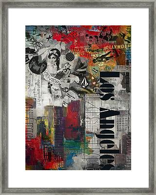 Los Angeles Collage Alternative Framed Print by Corporate Art Task Force