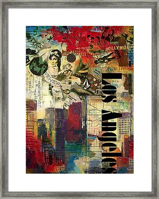 Los Angeles Collage  Framed Print
