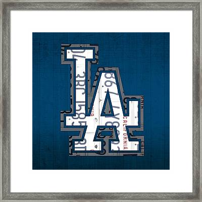 Los Angeles Dodgers Baseball Vintage Logo License Plate Art Framed Print by Design Turnpike