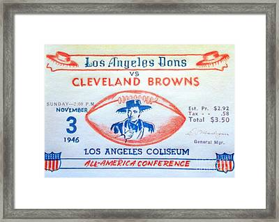 Los Angeles Dons Vs Cleveland Browns Framed Print by Pg Reproductions