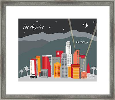 Los Angeles California Horizontal Skyline - Hollywood Hills - Night Framed Print by Karen Young