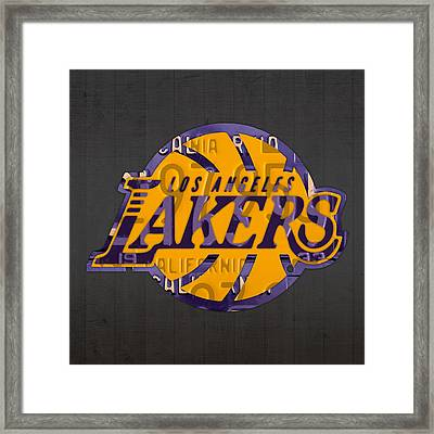 Los Angeles Lakers Basketball Team Retro Logo Recycled License Plate Art Framed Print by Design Turnpike