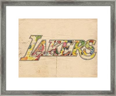 Los Angeles Lakers Logo Art Framed Print by Florian Rodarte