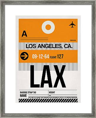 Los Angeles Luggage Poster 2 Framed Print by Naxart Studio