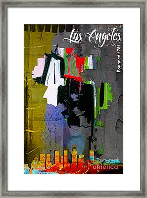 Los Angeles Map And Skyline Framed Print
