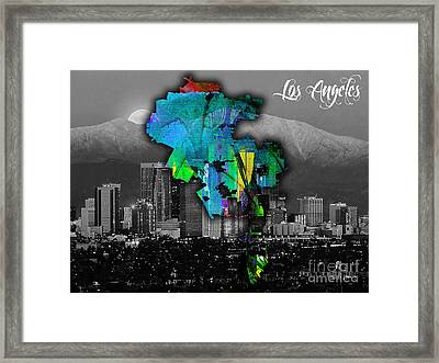 Los Angeles Map And Skyline Watercolor Framed Print by Marvin Blaine