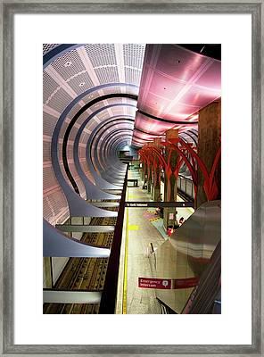 Los Angeles Metro Station Interior. Framed Print by Mark Williamson