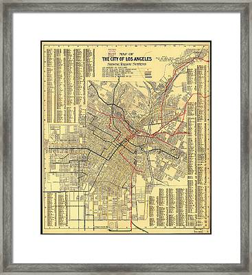 Los Angeles Rail System Map 1906 Framed Print by Mountain Dreams