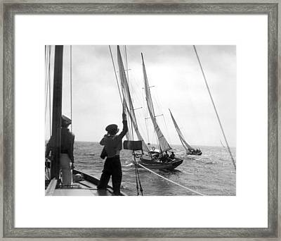 Los Angeles Regatta Tuneup Framed Print by Underwood Archives