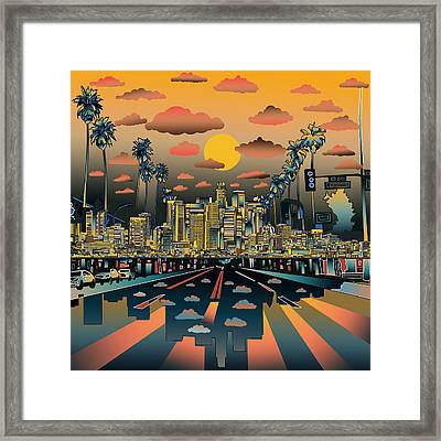 Los Angeles Skyline Abstract 2 Framed Print