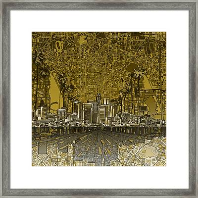 Los Angeles Skyline Abstract 4 Framed Print