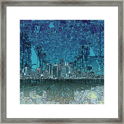 Los Angeles Skyline Abstract 5 Framed Print