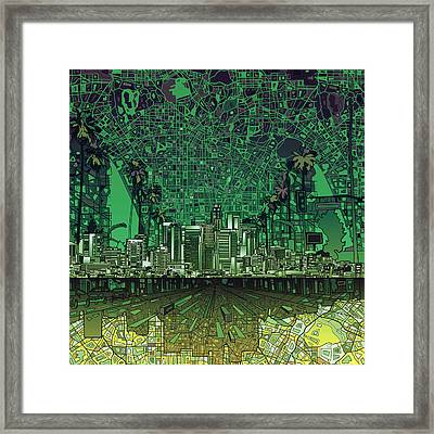 Los Angeles Skyline Abstract 6 Framed Print