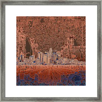 Los Angeles Skyline Abstract 7 Framed Print