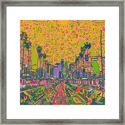 Los Angeles Skyline Abstract Framed Print