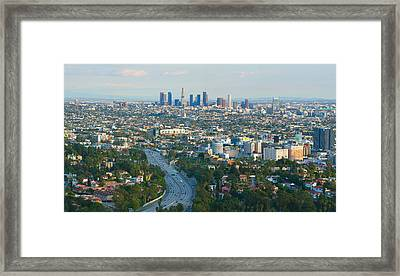 Los Angeles Skyline And Los Angeles Basin Panorama Framed Print by Ram Vasudev