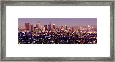 Los Angeles Skyline At Dusk Framed Print by Jon Holiday