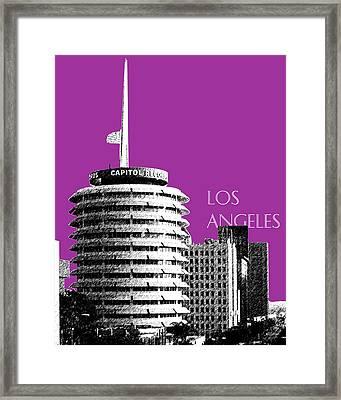 Los Angeles Skyline Capitol Records - Plum Framed Print