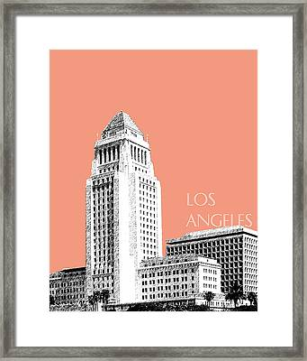 Los Angeles Skyline City Hall - Salmon Framed Print