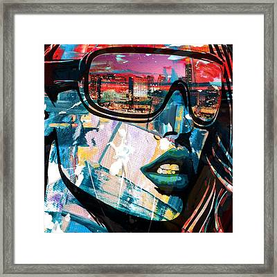 Los Angeles Skyline Framed Print by Corporate Art Task Force